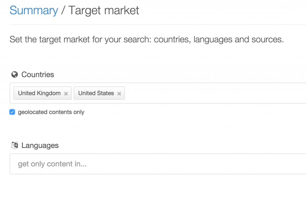 Pulsar social media monitoring search targeting US and UK