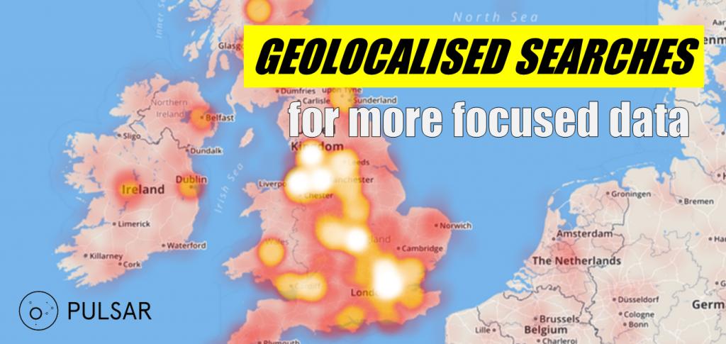 Pulsar location heat map visualisation for geolocalised social media data