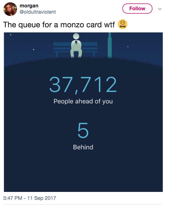 Monzo queue FOMO Tweet