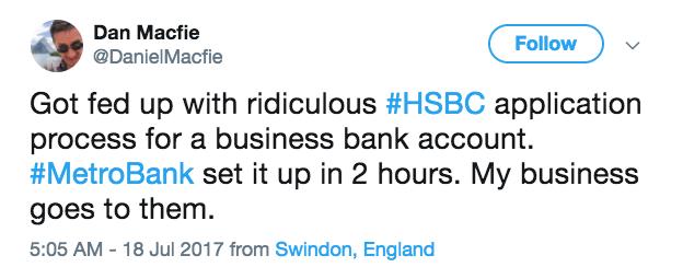 A tweet comparing metro bank to hsbc