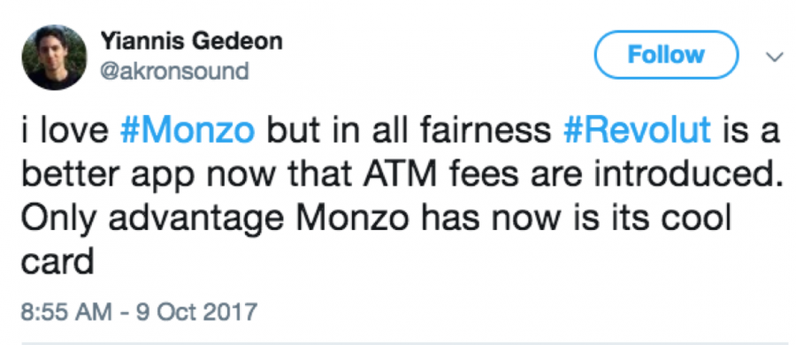 A tweet comparing Monzo and Revolut banks
