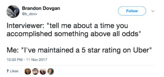 Tweet bragging about a high Uber rating
