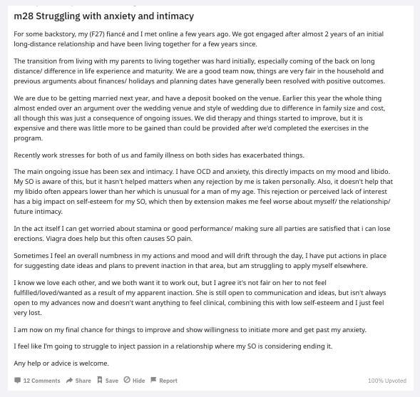 reddit erectile dysfunction post