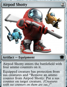 Among Us figures with Air Jordans and an AirPod Shotty